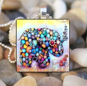 Elephant & Flower Silver and Glass Tile Necklace